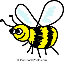 busy bee - cartoon busy bee isolated on white drawn in...
