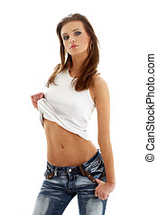 lovely girl in blue jeans and white shirt - picture of...