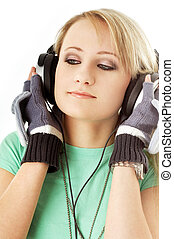 teenage girl in headphones 2 - picture of teenage girl in...
