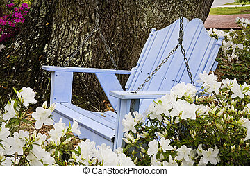 Garden Swing - Garden swing with azaleas