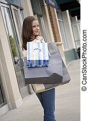 Shopping - Model Release 314 Woman enjoying a day of...