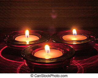 meditation light - three candles in the night like...