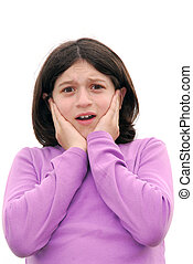 Frightened girl - Portrait of a young girl expressing fear...