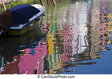 Burano Venice Italy - Colorfull homes line the canals in...