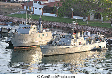 Mexican Naval Ships - Two ships of the Mexican Navy docked...
