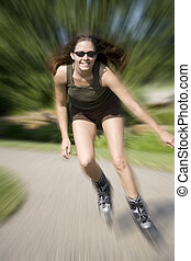 jogging - Model Release 350 Young woman in early 20s roller...