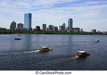 Boston - Duck Boats on the Charles River.