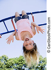 Playing in Park - Model Release 254 Eleven year old girl...