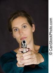 Gun - Model Release 353 Woman defending herself with handgun