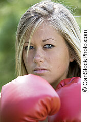 Boxing - Model Release 358 Teenage girl in boxing gloves