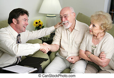 Guys Stick Together - A married senior couple seeing a...