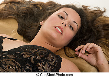 Sexy Woman Lying Down 1 - Beautiful Hispanic woman lying...