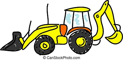 bulldozer isolated on white drawn in toddler art style