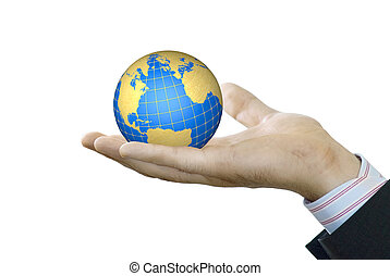 Hand holds globe of the white background