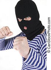 bandit wearing military mask