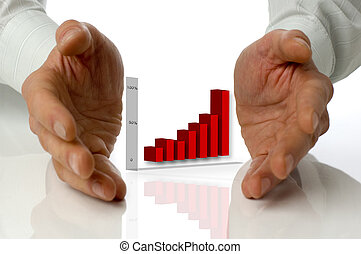 business men holding graph between hands on white