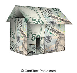 house - A house made of money,dollars on white background