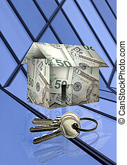 building - A house made of money and keys on abstract...