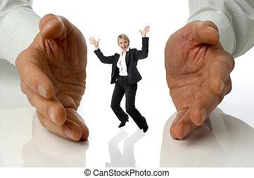 concept - happy business women between men hands on white