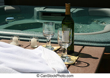 Wine and Shine - Relaxing moments in a spa and bottle of red...