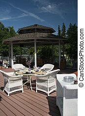 Garden Patio with chairs on a deck