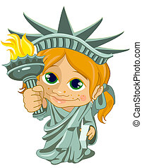 Little miss liberty - Illustration of a little girl dressed...