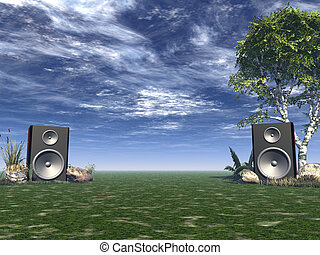 party on - two loudspeakers in a nature landscape - 3d...