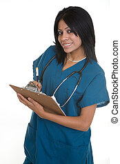 Friendly nurse with a chart - Smiling Hispanic woman...