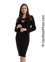Stern young business woman - Attractive stern looking...