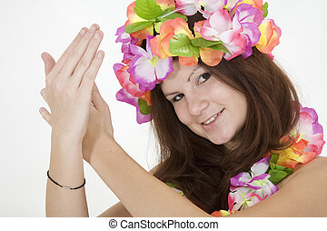 Teenage girl dressed as Hula Girl - Model Release 362...