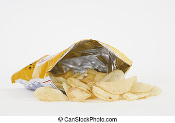 Junk Food - Bag of Potato Chips on white background