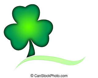 Shamrock with Swoosh - Screened shamrock with accent swoosh,...