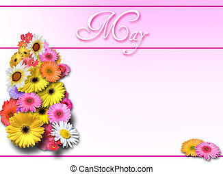 May Day on Pink Backgroun - Spring bouquet on gradient pink...