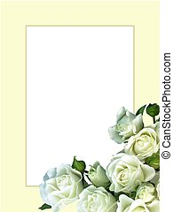 White Roses Ivory Frame - White rose bouquet on classic...