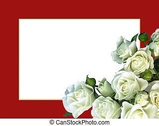 White Roses Red Frame - White rose bouquet on classic red...