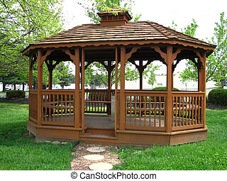 gazebo - Exterior of wooden gazebo with natural landscape...