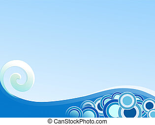 Curling Wave - Illustration of curling wave on gradient blue...