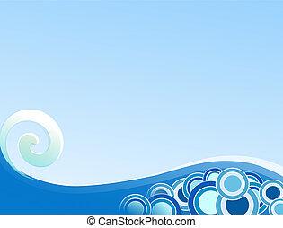 Curling Wave - Illustration of curling wave on gradient blue...