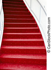 red carpet stair - stair with luxury red carpet