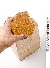 brown paper bag - opening a brown paper bag