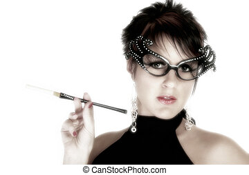 Beautiful Thirty Year Old Woman with Cigarette - Beautiful...