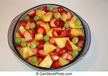 Bowl of Fruit Salad - Blue Bowl of Fruit Salad