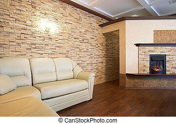fireplace and sofa - Beautiful fireplace and sofa in modern...