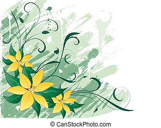 Grunge lillies - Illustration of lillies on grunge style...