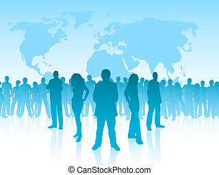 Leadership - Silhouettes of business people in front of a...