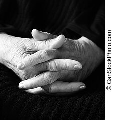 hands of old woman - special black and white photo fx, focus...