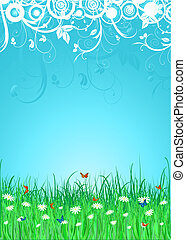 summer background - Butterflies amongst daisies and grass on...