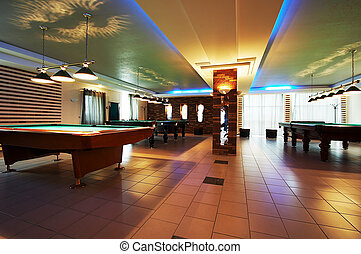 Room for game in billiards in modern hotel