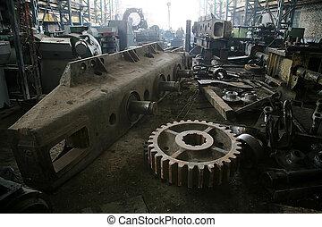 repair factory - Details of a dredge at a repair factory