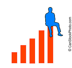 Top of the chart - Figure sitting on top of a bar graph...